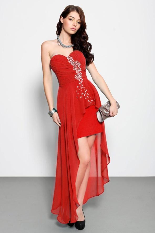 Zjawiskowa Asymetryczna Sukienka Srebrne Kamienie