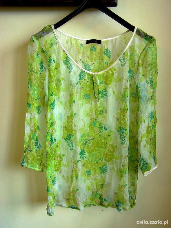 Bluzka Zielone Kwiaty Transparentna Vero...