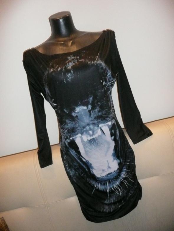 wyjątkowa sukienka print animal pantera