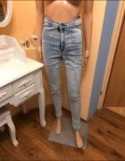 Spodnie marmurkowe wysoki stan rurki M...