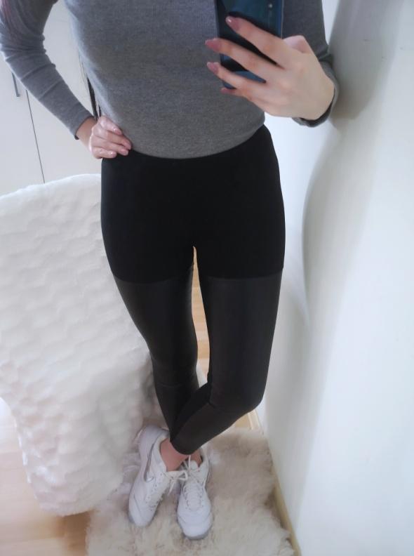 H&M Leginsy Spodnie damskie ze skórzaną wstawką S 36
