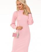 Elegancka sukienka długi rękaw S M L szara czarna różowa...