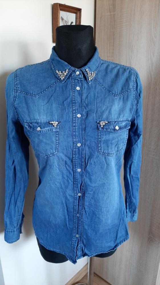 Jeansowa koszula cyrkonie