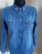 Jeansowa koszula cyrkonie...