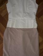 Kremowo beżowa Elegancka sukienka z baskinka L...