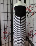 sukienka maxi długa paski marynarskie marinistyczna...