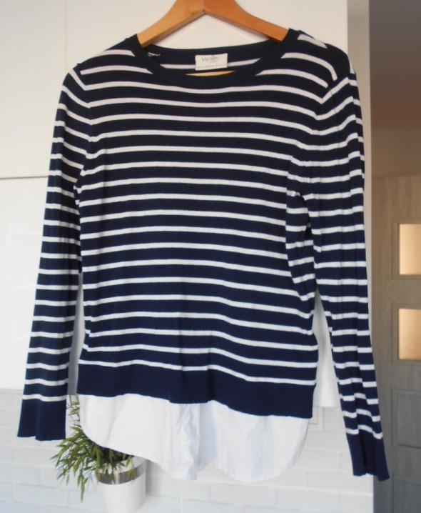 Wallis sweter paski granatowy 2w1 plus koszula...