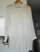 Nicole Ferrat vintage biała koszula bluzka mgiełka kieszenie ov...