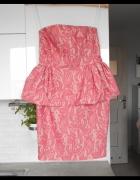 Zara gorsetowa sukienka koronkowa różowa pink neon baskinka...
