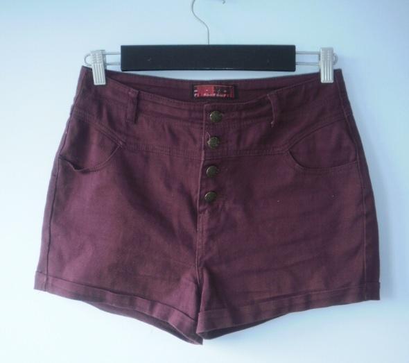 Spodenki CA bordowe szorty boyfriend bordo jeans high waist