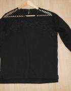 HM czarna bluza dresowa ażurowa wstawka...