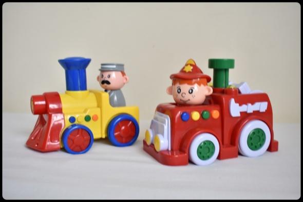 Zabawki SMIKI press and go straż pożarna i ciuchcia zabawki grające