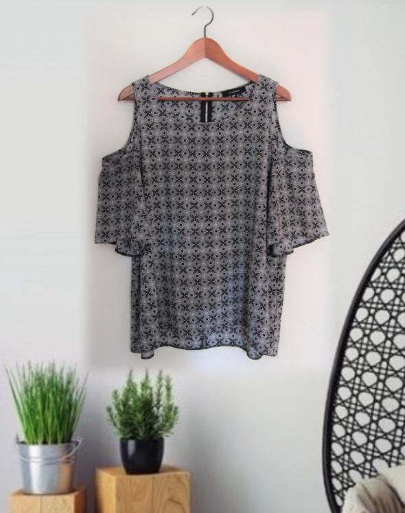 XL Modna bluzka drobne wzorki zip odkryte ramiona ATMOSPHERE