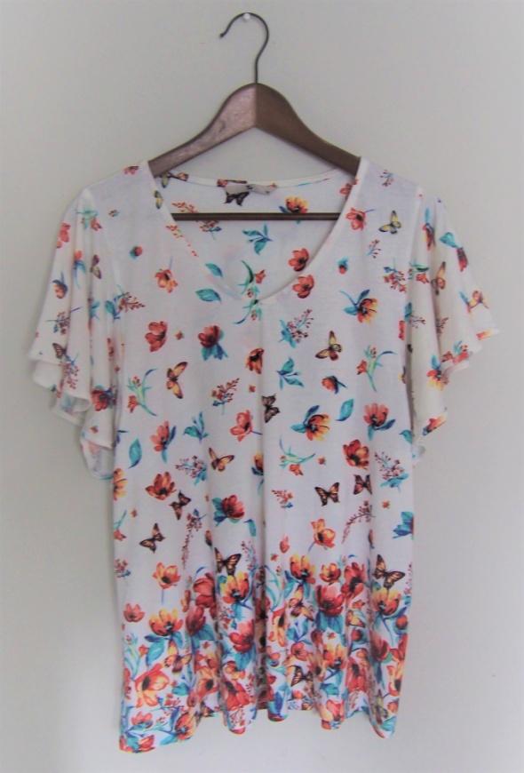 XL Bluzka wiosenna motylkowe rękawki...