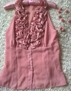 Elegancka bluzka z falbanką pudrowy róż...