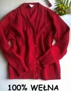Czerwony sweterek wełna S M L vintage...