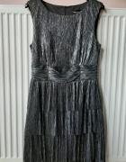Sukienka błyszcząca z falbankami L...