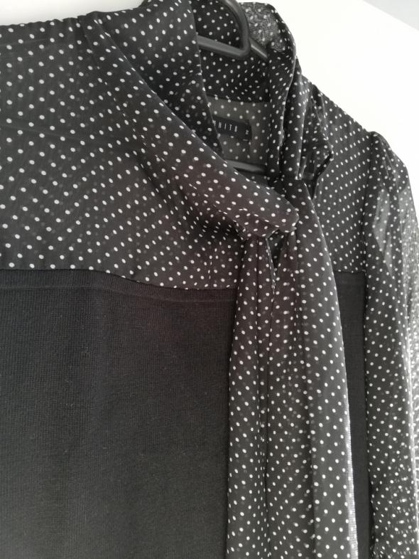 Mohito czarny sweterek z szyfonowymi rękawami i wiązaniem w kropki XS