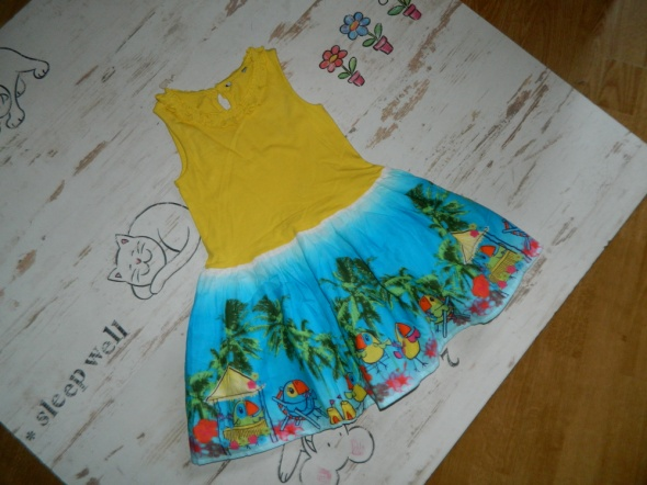 Sukienki i spódniczki GEORGE cudna sukieneczka papugi tukany roz 110