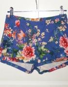 eleganckie spodenki pull&bear floral print kobaltowe...