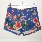 eleganckie spodenki pull&bear floral print kobaltowe