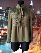 shein bluzka elegancka khaki koronkowa mgiełka hit blog 36 S...