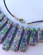 Zielonofioletowy jaspis stopniowane kamienie naszyjnik...