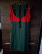 zielona sukienka z wycięciami na plecach