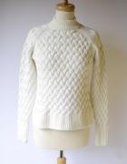 Sweter Cubus Biały Pleciony S 36 Golf Biel Sweterek...