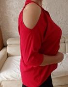 bluzka czerwona odkryte ramiona...