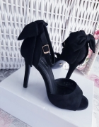 Sandałki zamsz kokarda ideal 36 wkładka 235cm obcas 105cm NOWE