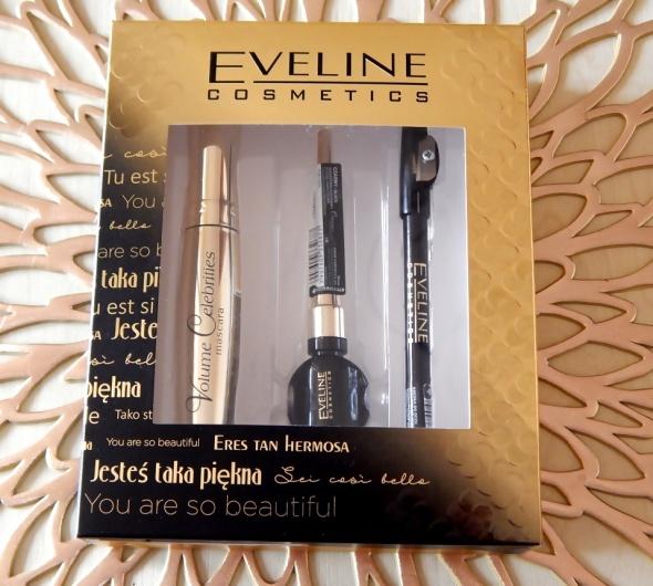 Zestaw Eveline Cosmetics Tusz do rzęs eyeliner i kredka do oczu nowy