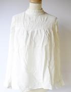 Bluzka Biała Elegancka Cubus 42 XL Koronkowa Wizytowa...
