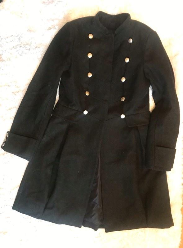 Odzież wierzchnia Rozkloszowany elegancki płaszcz khaki zimowy ciepły militarny XS S