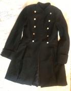Rozkloszowany elegancki płaszcz khaki zimowy ciepły militarny X...