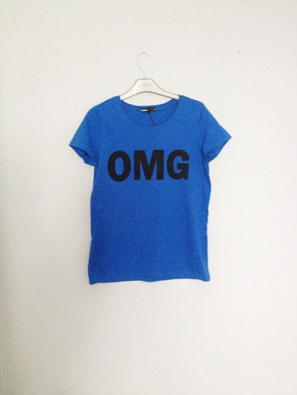 T-shirt tshirt bluzka z krótkim rękawem granat omg print