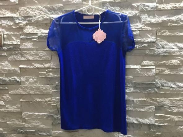 Nowa szafirowa niebieska bluzka siatka