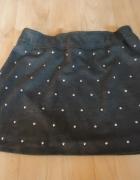 Szara dzianinowa mini spódnica popielata z ćwiekami dzianina 34