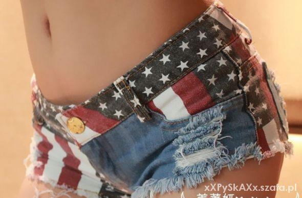 Spodenki SPODENKI DAMSKIE JEANS DŻINS FLAGA USA S