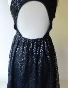 Sukienka Czarna Cekiny Odkryte Plecy S 36 Gina Tricot...