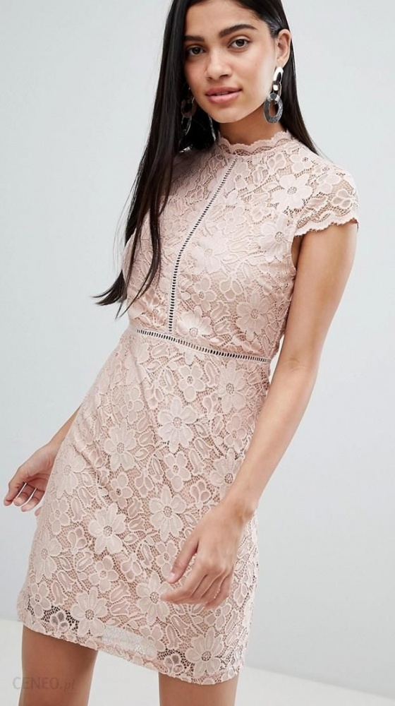 Suknie i sukienki QED London ASOS Koronkowa koktajlowa sukienka 36 S