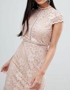 QED London ASOS Koronkowa koktajlowa sukienka 36 S