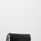 czarna kopertówka z frędzlami skórzana