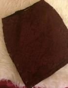 Pull&Bear bordowa burgundowa krótka mini koronkowa spódniczka s...