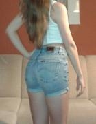 Lee krótkie spodenki szorty jeansowe wysoki stan...