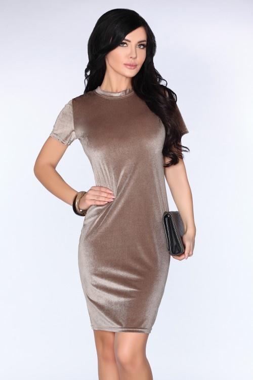 Suknie i sukienki Welurowa beżowa sukienka S M L XL