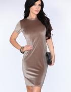 Welurowa beżowa sukienka S M L XL...