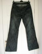 Szare jeansy dzwony z wyższym stanem L...