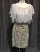 Sukienka nowa r42 krem srebrna nitka...