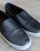 Buty sportowe damskie wsuwane srebrne szare ciemne 38...